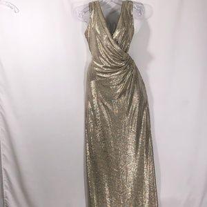 Lauren Ralph Lauren shimmery gold formal gown